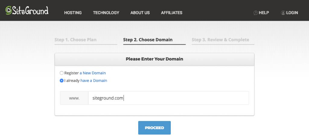 choose domain name siteground hosting