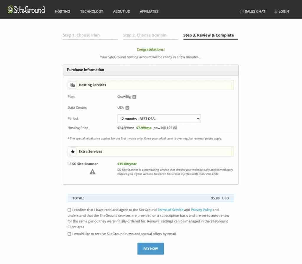 complete signup siteground hosting